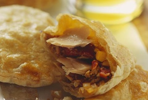 Chicken & mushroom empanadas with salsa picante (garlic chilli)